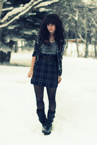 black Billabong shirt - gray kensie dress - black Classified boots