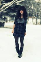 black Billabong shirt - gray kensie dress - black Classified boots