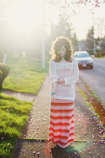 burnt orange modcloth dress - beige similar thrifted sweater