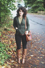 Army-green-modcloth-blazer-brown-blowfish-boots-gray-ruche-cape