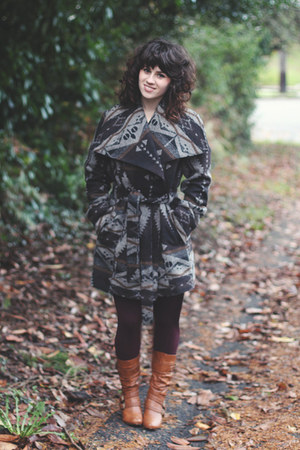 dark gray Coldwater Creek coat - brown modcloth boots - magenta Target tights