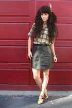 thrifted shirt - thrifted skirt - zigisoho shoes - thrifted purse - handmade hat