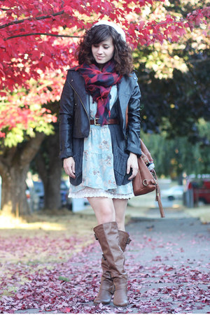 AsianICandy jacket - Blowfish boots - modcloth dress - Nordstrom hat - H&amp;M scarf
