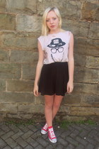 red Converse sneakers - black Topshop skirt - white Topshop t-shirt