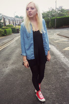 sky blue Topshop shirt - black Topshop dress - red Converse sneakers