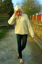 camel Topshop loafers - dark green River Island jeans - cream Topshop jumper
