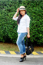 blue Mango jeans - black dior bag - light blue Kamiseta blouse