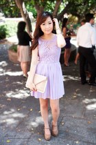 light purple beginning boutique dress - nude gold hardware asos purse