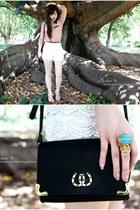 neutral Shubar shoes - black asos bag - ivory cream lace Ebay shorts