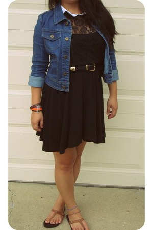 black H&M dress - blue denim jacket Forever 21 jacket