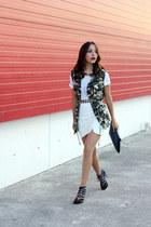 white Zara top - green Forever 21 vest - white Forever 21 skirt