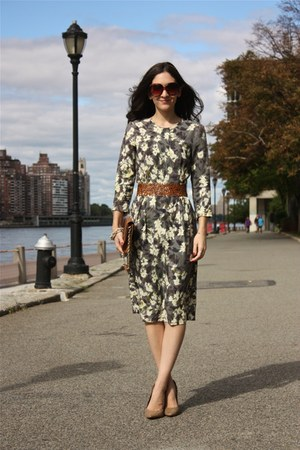 floral print H&M dress - brown DKNY purse - beige cutout Zara heels