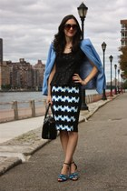 light blue H&M blazer - kate spade purse - H&M skirt