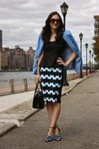 light blue H&M blazer - kate spade purse - H&M skirt