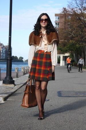 thrifted vintage cape - kate spade bag - thrifted vintage skirt