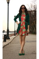 CC Lake dress - Max Studio cardigan - just fab heels - Forever 21 belt
