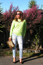 Forever 21 sweater - Levis jeans - cotton on bag - Girl XPress heels