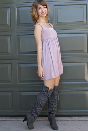 pink H&M dress - gray Charlotte Russe boots