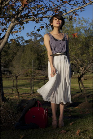 peach Wittner shoes - ruby red Oroton bag - white gary pepper vintage skirt - da