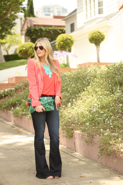 carrot orange Nordstrom blazer - navy J Brand jeans