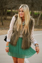 teal Urban Outfitters skirt - black Chanel bag - dark brown Via Spiga vest