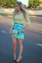aquamarine Dillards skirt - camel Zara heels