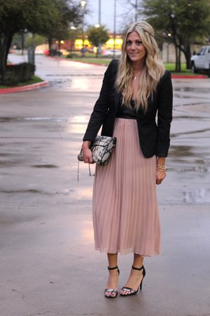 light pink Chrome dress - black Forever 21 blazer - black Zara sandals