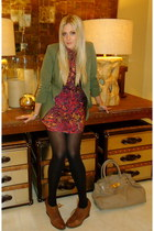 crimson TC Ellis dress - dark green Audrey blazer - dark brown DSW loafers