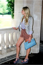 gray Zara blazer - sky blue Forever 21 bag - brown H&M shorts - light purple Gap