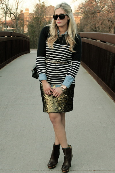 gold New York & Company skirt - black Chanel bag - navy J Crew top