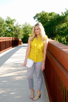 chartreuse JC Penney blouse - periwinkle New York & Company pants - heather gray