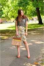 necklace - bag - H&M t-shirt - heels - ring - skirt