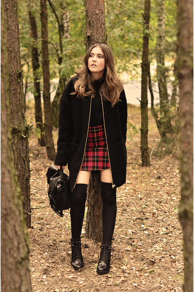 boots - coat - sweater - bag - skirt - H&M ring