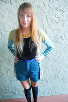 heather gray grandpa Target cardigan - teal high waisted thrifted vintage shorts
