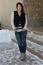 quilted velvet unkown vest - seychelles boots
