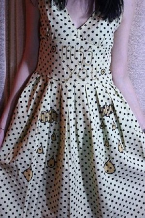 cream polka dot handmade dress