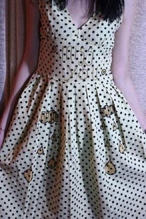 cream polka dot handmade dress