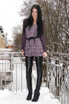 vintage cardigan - Aldo boots - Mango dress