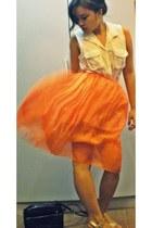 white M Square blouse - carrot orange thrifted skirt