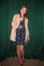 blue apricot dress - red Priceless Shoes shoes - beige Primark jacket - red vint