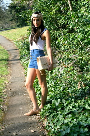Chanel bag - za shoes - blue Bebe shorts - white McQ t-shirt