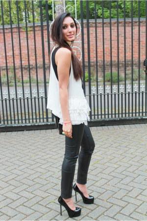 black TopShop Unique pants - black YSL heels - black versus top - white vest