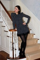 black Aerin shoes - black Reformation dress - black satin opaque Wolford tights
