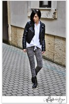 black leather H&M jacket - dark gray Leonardo boots