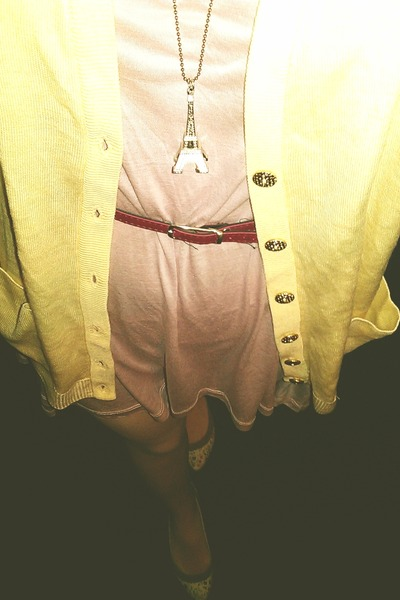 peach next dress - silk random tights - light yellow wool first avenue cardigan