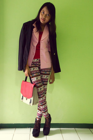 salmon pattern unbranded leggings - bubble gum thrifted unbranded blazer
