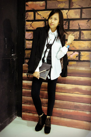 black AdorableProjects boots - black becca blazer - white vintage shirt