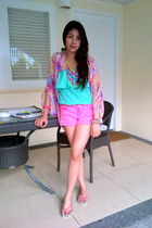 hot pink Forever 21 shorts - turquoise blue Forever 21 top