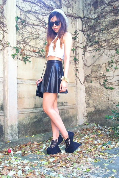 black leather skater Fahion Diary Cebu skirt - white cropped top Topshop top