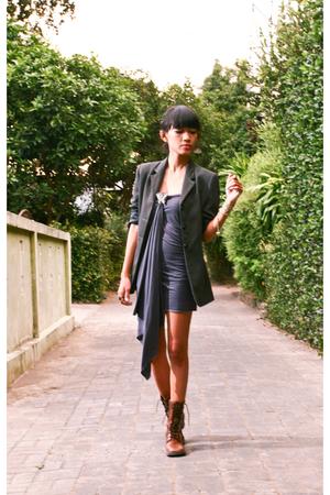 blazer - dress - boots - accessories